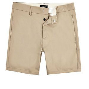 Light tan slim fit shorts