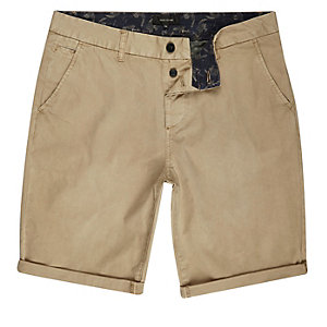 Tan slim fit shorts