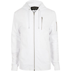 White zip-up pocket long sleeve hoodie