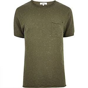 Green crew neck short sleeve top
