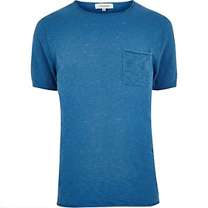 Blue crew neck short sleeve top