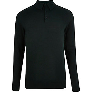 Dark green knitted polo sweater