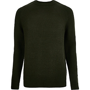 Dark green ribbed knit sweater