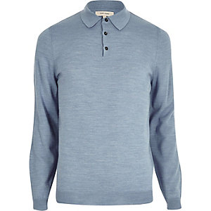 Light blue merino wool blend sweater