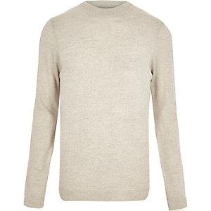 Ecru merino wool blend jumper