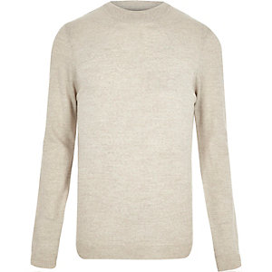 Ecru merino wool blend sweater