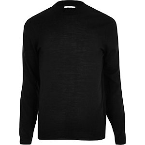 Black merino wool blend sweater