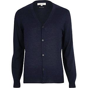 Navy merino wool blend cardigan