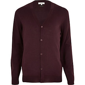 Dark red merino wool blend cardigan