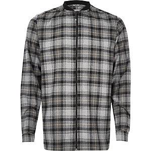 Grey check flannel baseball shirt