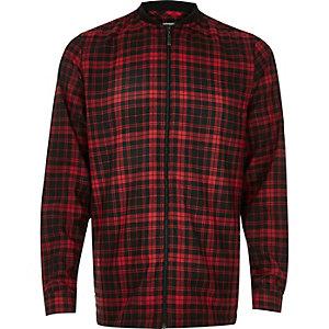 Red check flannel baseball shirt