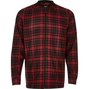 Red check flannel baseball shirt