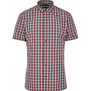 Red check short sleeve popper shirt