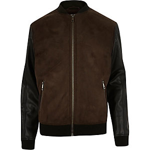 Dark brown leather-look fleece-lined jacket