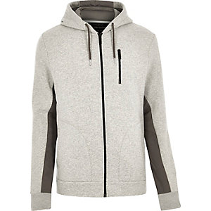Grey zip through sleeve panel hoody