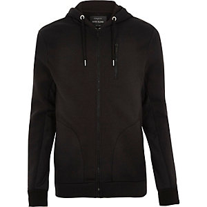 Black zip through suede panel hoody