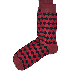 Red geometric pattern socks