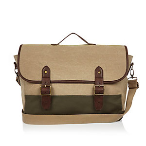 Dark green canvas satchel bag