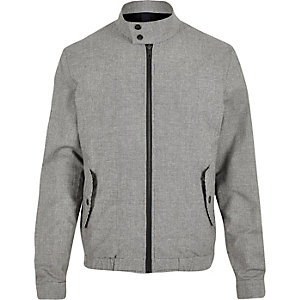 Grey check funnel neck harrington jacket