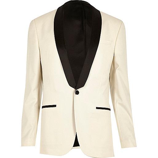 Veste de costume blanche cintrée