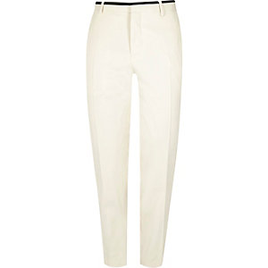 White skinny suit pants