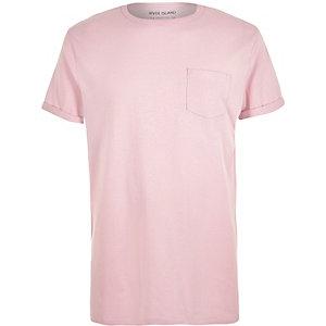 Pink pocket crew neck t-shirt