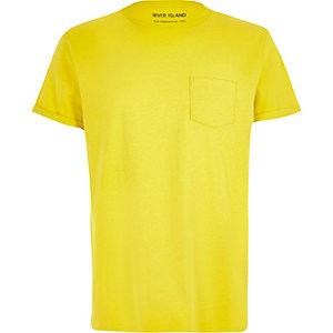Yellow pocket crew neck t-shirt