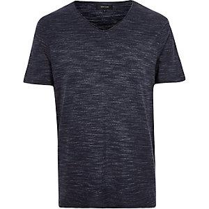 Navy marl V-neck t-shirt