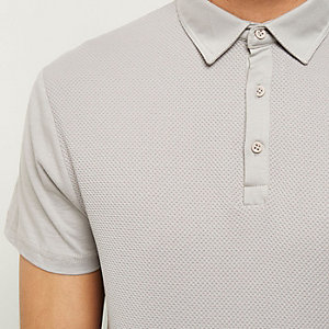 Grey textured front polo shirt