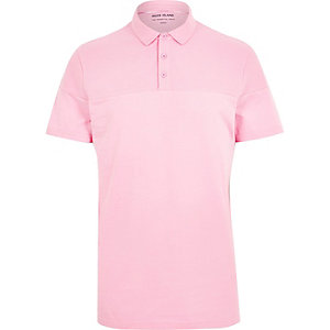 Pink ribbed panel polo shirt