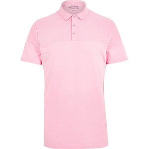 Pink ribbed panel polo shirt
