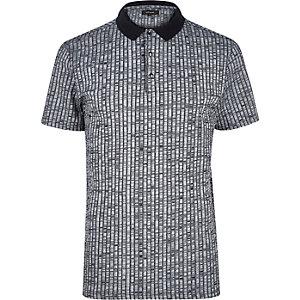 Navy chunky rib polo shirt