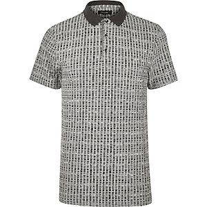 Grey chunky rib polo shirt