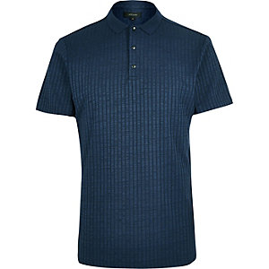 Navy chunky rib polo shirt