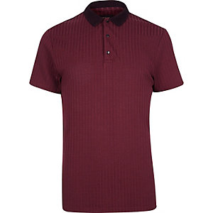 Dark red ribbed polo shirt