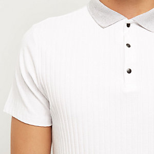 White ribbed popper polo shirt
