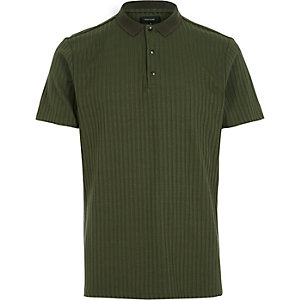 Green ribbed popper polo shirt