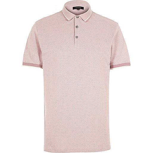 Polo en jacquard à motif losanges rose
