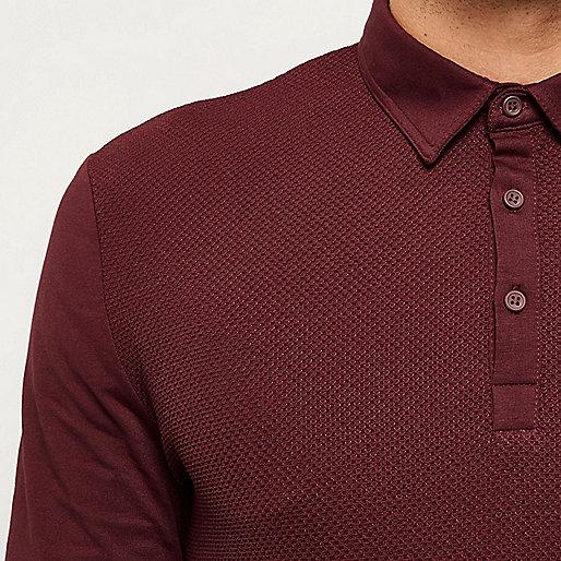 Dark red textured long sleeve polo shirt