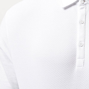 White textured long sleeve polo shirt