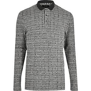 Grey ribbed long sleeve polo shirt