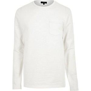 White long sleeve pocket sweat