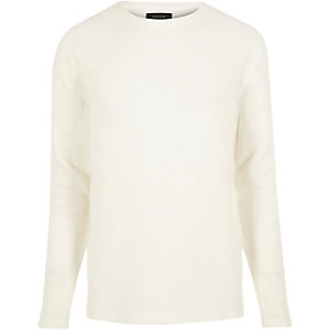 Ecru textured waffle sweater