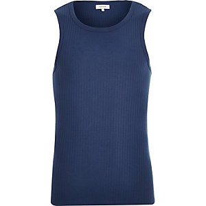 Blue essential ribbed tank