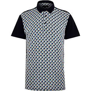 Navy retro pattern polo shirt