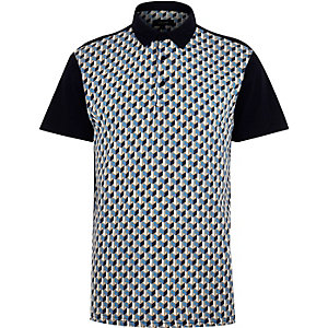 Navy retro pattern polo shirt