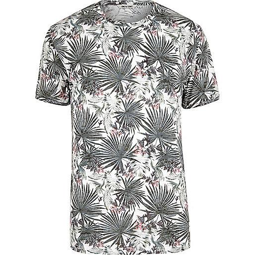T-shirt Only & Sons motif palmiers blanc coupe ajustée