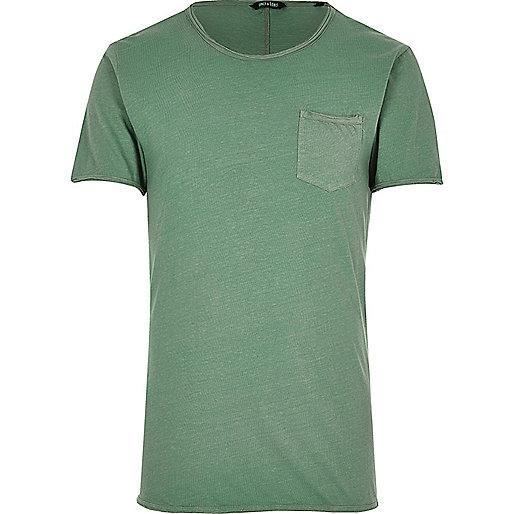 Green Only & Sons raw edge T-shirt