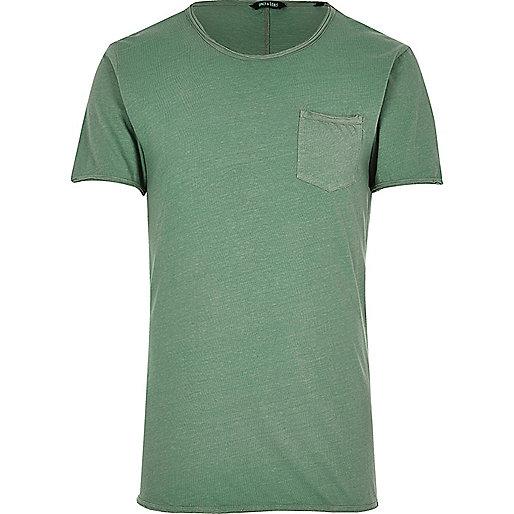 Only & Sons – Grünes T-Shirt mit offenem Saum