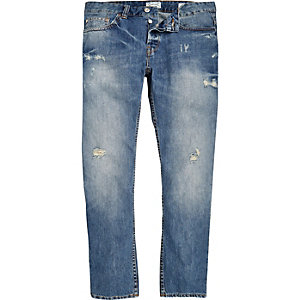 Blue Only & Sons ripped straight jeans